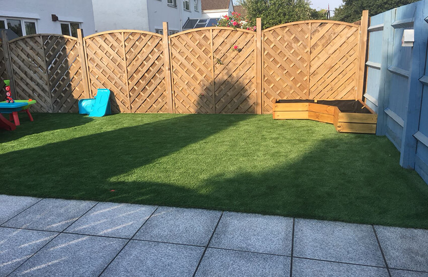 Fencing patio and lawn