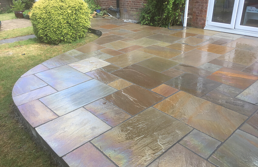 Shaped sandstone patio in Frampton Cotterell