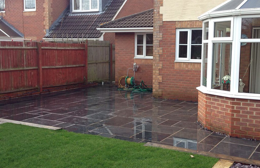 Slate patio and new lawn